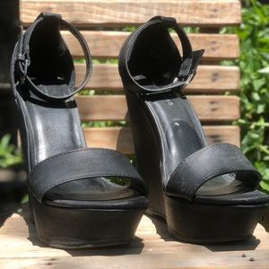 Black strappy wedges/platforms